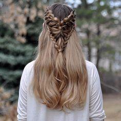 Lace 4-Strand Arrowhead Braid on myself today  #luxyhair #dirtyblondeluxyhair