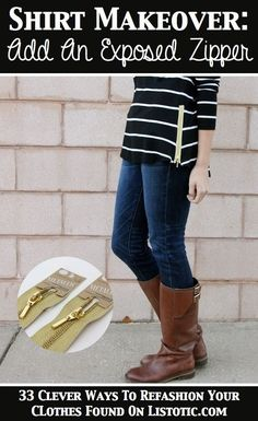 Add an outside zipper -- Such a cute touch to a fall sweater.
