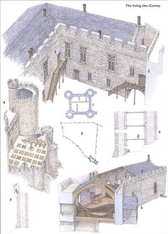 Conwy castle, Birds eye view and cross sections