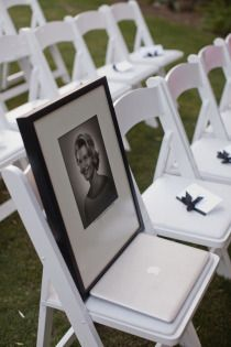 Remembering those who can't be there on your special day. Greatest idea going to have a picture of my Grandaddy on a chair bc he was so special and he will be there on my wedding day alive or not I will have a picture of him on a chair Wedding Wishes, Wedding Bells, Wedding Events, Wedding Ceremony, Our Wedding, Dream Wedding, Wedding Stuff, Wedding Favors, Cheap Wedding Ideas