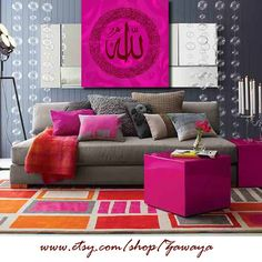 Canvas wall art fushia pink gray decor arabic by Zawaya on Etsy, $65.00