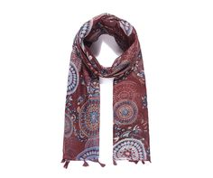 LADIES RUSTIC RED  MULTI BATIK PAISLEY ABSTRACT PRINT BOHO TASSLED SCARF WRAP