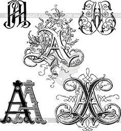 Вензели AA - векторный клипарт