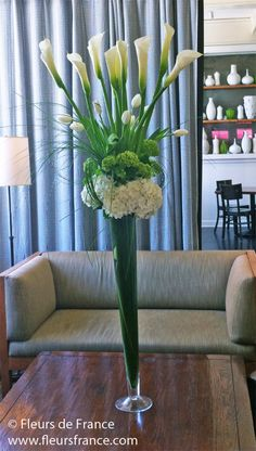 Tall white calla & Green spring floral arrangement