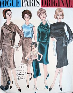 1960s Vogue Paris Original Pattern 1119 Christian Dior Suit Blouse Scarf Lovely Side Closing Jacket Slim Skirt With Flared Bottom Striking Surplice Blouse Fabulous Dior Design