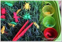 Bugs in the Grass - sweet Spring-time activity to promote sorting, playing, matching, fine motor skill development and fun!