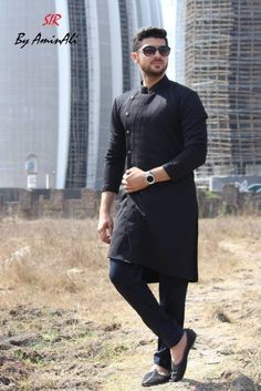 Mens Designer festive cotton pathani suit with collar neck, short button placket and full sleeves and curve hem. Comes with matching bottom. Kurta Pajama Men, Kurta Men, Mens Sherwani, Wedding Sherwani, Gents Kurta Design, Boys Kurta Design, Wedding Dresses Men Indian, Wedding Dress Men, Indian Men Fashion