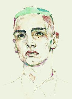 Male Portrait, watercolor on paper, by Adria Mercuri.