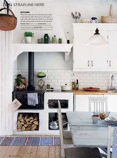 why not? little wood stove in tiny kitchen. What about necessary clearance?