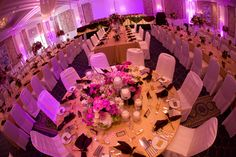 The square shape of the Ocean Ballroom makes it perfect for setting a table in the exact center of the room.  Photo by Sieber Studio.