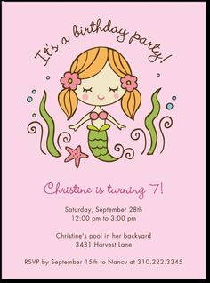 A Sweet Mermaid Themed Birthday Party Invite