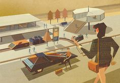 Matthew Lyons is a talented British born designer with a love for simplistic retro futuristic designs that pays tribute to the mid century illustrations of artists such as Charles Schridde.