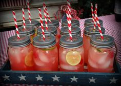 Mason jar drinking jars with cherry limeade - perfect for a summer picnic! by Pink Polka Dot Creations Mason Jar Drinks, Mason Jar Diy, Mason Jar Crafts, Sangria Bar, Fun Drinks, Yummy Drinks, Beverages, Cold Drinks, Party Cooler