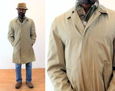 London Fog Raincoat S, Single Breasted Classic Vintage Men's Tan Faux Sherpa Lined Coat, 36 Regular Small Vintage Coat, Vintage Men, Mens Sherpa, Sherpa Lined, Drip Dry, Tweed Jacket, Grey Sweater, Casual Shirts, Black And Grey
