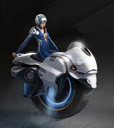 Girl on One Wheel Motorcycle Concept Art by Bruno Gauthier Leblanc