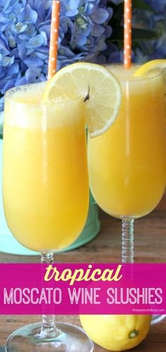 Tropical Moscato Wine Slushies - perfect Summer frozen drink recipe with mango,  pineapple, and lemon - so yummy!