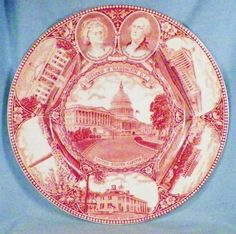 Washington D C Souvenir Plate Pink Transfer Old English Staffordshire Ware