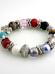 Chunky Gemstone Beaded Stretch Bracelet by TrinketsNWhatnots, $15.00