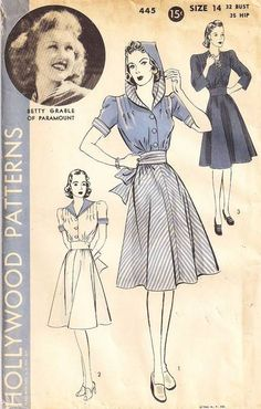 Betty Grable Hollywood 445 Dress with Hood, Sailor Collar Pattern