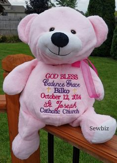 Whats that you say some buddies have embroiderable ears you personalized pink bear stuffed animal by sewbizembroiderytoo 3400 personalized babystuffed animalsbaby giftsbear negle Images
