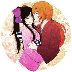 Kenshin and Kaoru~A kiss on the hand -- he's always such a ...