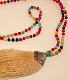 Unique Multicolour Bali Mala Necklace-Rainbow Beads with Tassel-G023 by JennPetersShop on Etsy