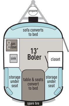 13' Boler Trailer | Floorplan