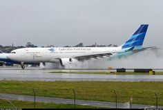 PK-GPL Garuda Indonesia Airbus-A330,Reverse Thrust on Wet Runway .