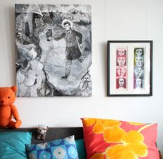 """Livingroom; paintings, toys and pillows. Large painting > Jaakko Pallasvuo. Print > by me. Teddy bear > hand made. Dog > EMMA museum shop. Pillow with yellow and pink pattern > self made, fabric """"Ketunleipä"""" by Marimekko. Pillow with turquoise pattern > Maharam. Sofa from the 50's > flea market find. Turquoise Pattern, Museum Shop, Flea Market Finds, Pink Patterns, Large Painting, Marimekko, Gallery Wall, Teddy Bear, Sofa"""