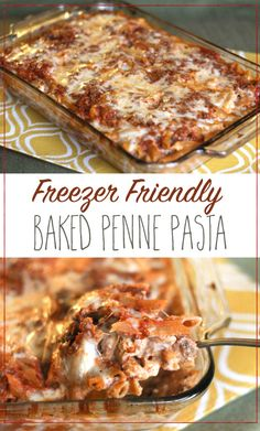 Freezer Friendly Baked Penne Pasta Recipe (would swap some ingredients, but could totally use idea for individual-serving baking dishes (RR)) Freezer Friendly Meals, Healthy Freezer Meals, Make Ahead Meals, Freezer Cooking, Easy Meals, Cooking Recipes, Freezer Recipes, Freezable Meals, Freezer Baked Ziti