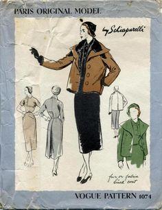 Late 1940s or 50s sewing pattern. Vogue Paris Original  1074 by Elsa Schiaparelli.