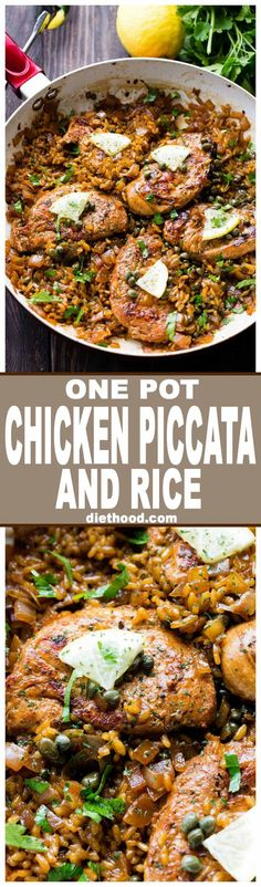 One Pan Chicken Piccata and Rice - Easy and quick to make Chicken Piccata prepared over a bed of delicious rice with wine, capers, and lemons.