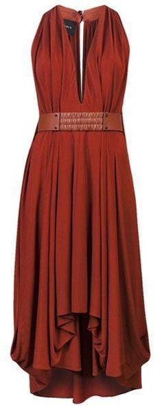 AKRIS  Red Asymmetrical Dress