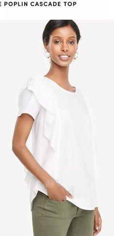 ANN TAYLOR Sz XL Poplin Cascade Top Blouse White NWT    eBay