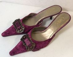 Carlos Santana pointy suede buckle mules - Piratey! Pirate Fashion, Kitten Heel Shoes, Purple Suede, Carlos Santana