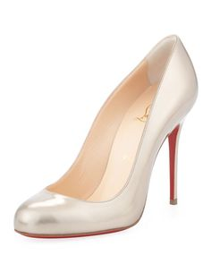 Christian Louboutin - Fifi Metallic Leather Red Sole Pump, Beige/Gold