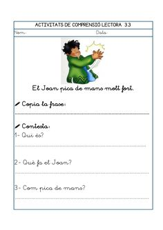 Dori dos 1112_mt005_r1_comprensio_lectora_3 Maila, Worksheets, Valencia, Teaching, Frases, Reading Comprehension, Color By Numbers, Vocabulary, Learning