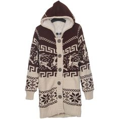 Khaki Deer and Snowflake Christmas Pattern Hooded Sweater Coat ($50) ❤ liked on Polyvore