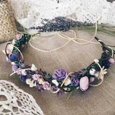 Foral crown in purple Lavender head wreath bridal by SERENlTY