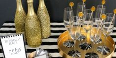 Throw the Ultimate New Years Bash: How to set up a New Years bubbly bar - Hubub Black And Gold Party Decorations, New Years Decorations, Bubbly Bar, Nye Party, Party Time, New Year Celebration, New Years Eve Party, Christmas And New Year, Bubbles
