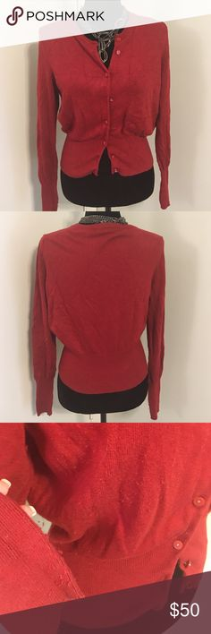 🆕Moda International Silk cashmere red cardi Moda International Silk cashmere red cardigan sweater- sexy fit in great shape besides the pilling under the arms which can be remedied with a sweater shaver - mine died so I can't de-pill it for you. Moda International Sweaters Cardigans