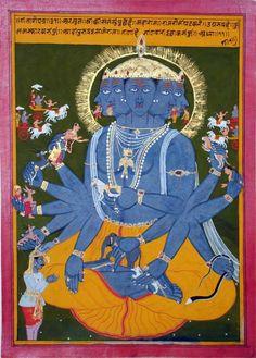 Mahabharata series showing Arjuna seeing the Cosmic form of Krishna. Mewar,17th C