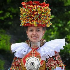 Bride from Germany in traditional costume and headdress