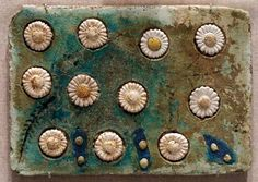 Tile with floral inlay. From Tell el-Amarna, Egypt, c. 1352–36 bce//via Brooklyn Museum, NYC photo: Katie Chao. Blogged by beachbungalow8