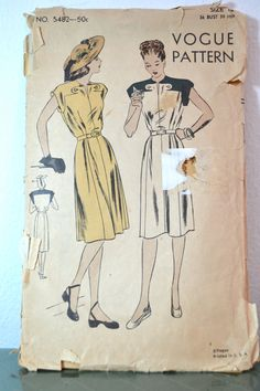 1940s Vintage Vogue Pattern 5482 Misses One by TabbysVintageShop