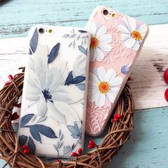 3D Relief Sun flower Soft Silicon Gel Phone Cases For Apple iPhone 6 6S / Plus Back Case Cover funds Coque