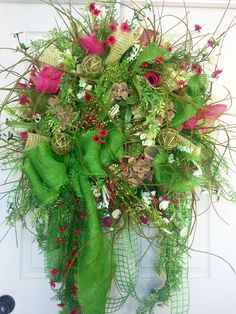 Premium XL Spring or Summer Pink and Lime Wildflower Mesh Wreath by WilliamsFloral on Etsy https://www.etsy.com/listing/287722587/premium-xl-spring-or-summer-pink-and