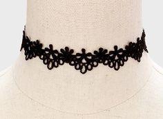 Black Floral Crochet Lace Choker