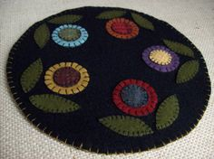 Penny Rug Flower Candle Mat by rustiquecat on Etsy, $18.00