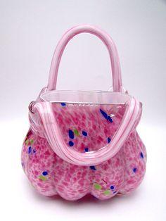 Art Glass Purse Vase Basket Murano Style Hand Blown Pink Confetti Heavy 7.5 Inch